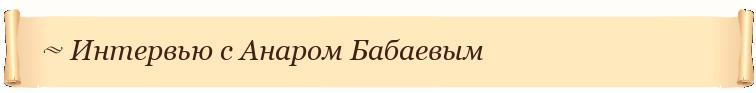 Интервью с Анаром Бабаевым