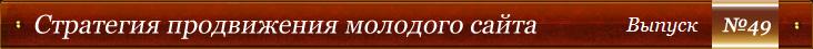 Стратегия продвижения молодого сайта - Выпуск №49