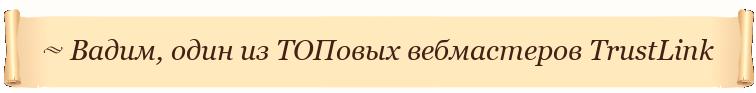Вадим, один из ТОПовых вебмастеров TrustLink:
